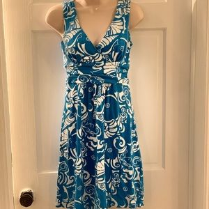 Lilly Pulitzer turquoise white print knit sundress